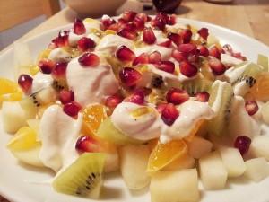 frutas con yogur griego