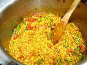 Paella vegetal sin colesterol